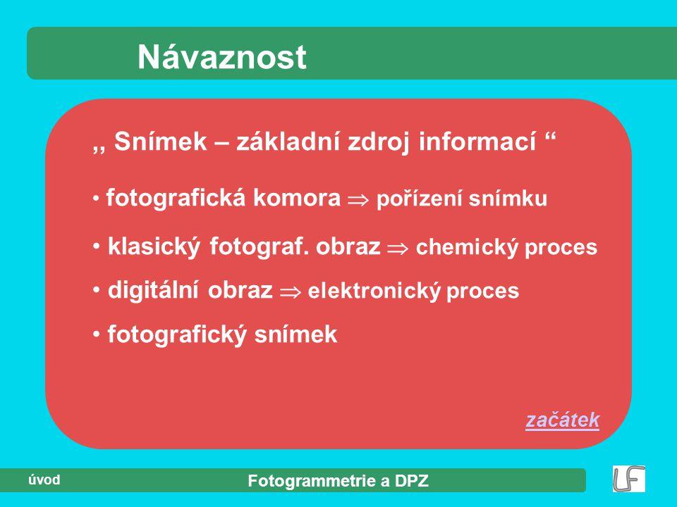 """Fotogrammetrie a DPZ úvod Návaznost,, Snímek – základní zdroj informací """" fotografická komora  pořízení snímku klasický fotograf. obraz  chemický pr"""