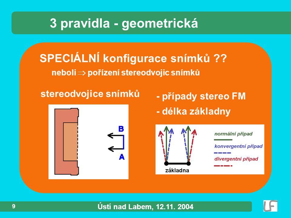Ústí nad Labem, 12.11. 2004 9 SPECIÁLNÍ konfigurace snímků ?.