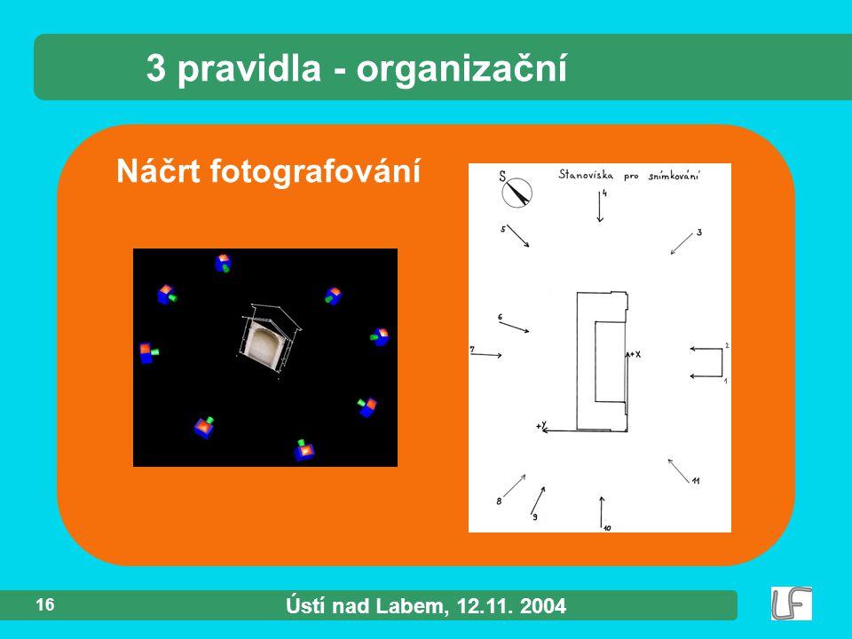 Ústí nad Labem, 12.11. 2004 16 Náčrt fotografování 3 pravidla - organizační