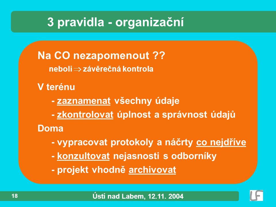 Ústí nad Labem, 12.11. 2004 18 Na CO nezapomenout ?.