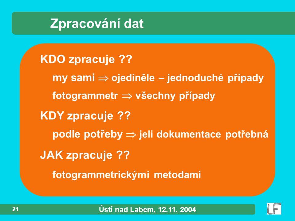 Ústí nad Labem, 12.11. 2004 21 KDO zpracuje ?.