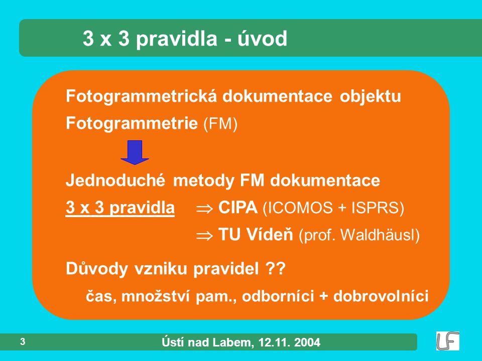 Ústí nad Labem, 12.11. 2004 3 Fotogrammetrická dokumentace objektu Fotogrammetrie (FM) 3 x 3 pravidla - úvod Jednoduché metody FM dokumentace 3 x 3 pr