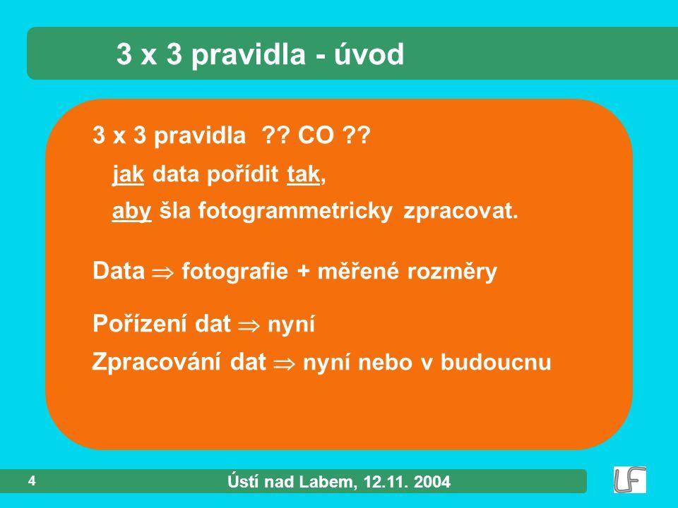 Ústí nad Labem, 12.11. 2004 4 3 x 3 pravidla ?. CO ?.