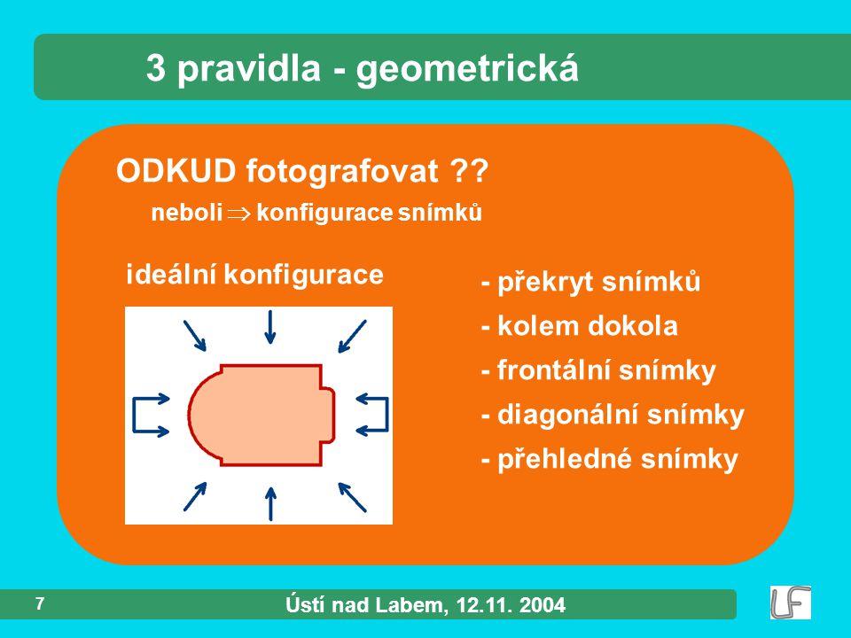 Ústí nad Labem, 12.11. 2004 8 SnÍmkypřÍkladSnÍmkypřÍklad 3 pravidla - geometrická