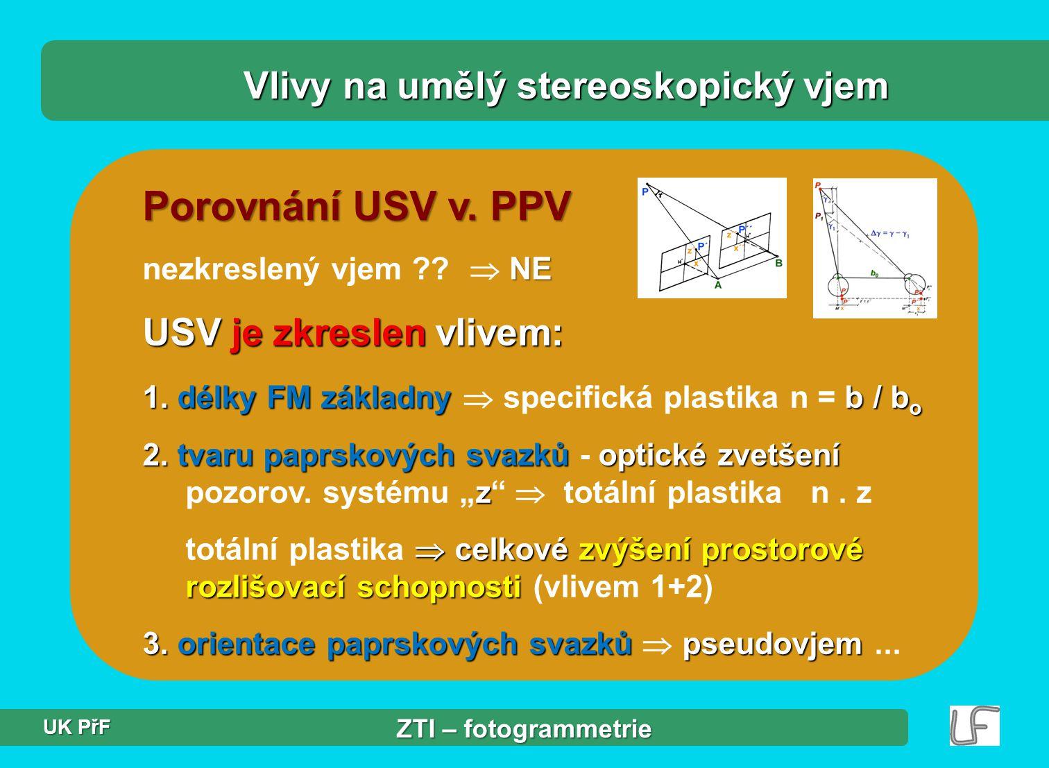 Porovnání USV v.PPV Vlivy na umělý stereoskopický vjem USV je zkreslen vlivem: 1.