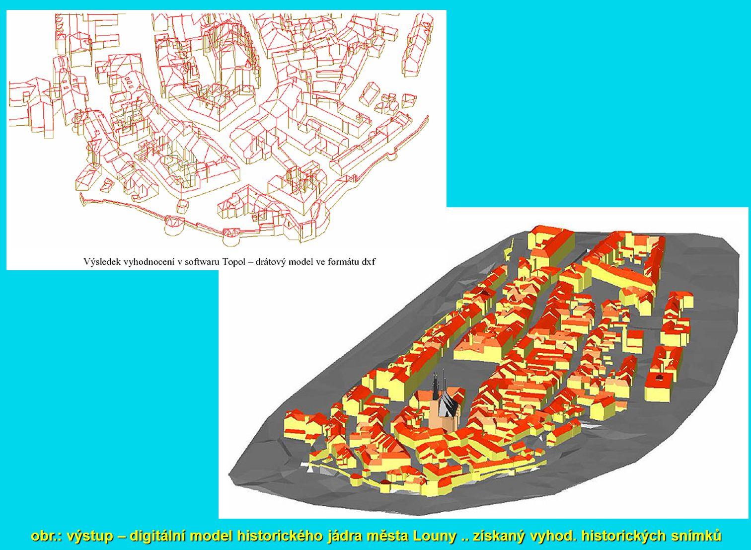 obr.: výstup – digitální model historického jádra města Louny.. získaný vyhod. historických snímků