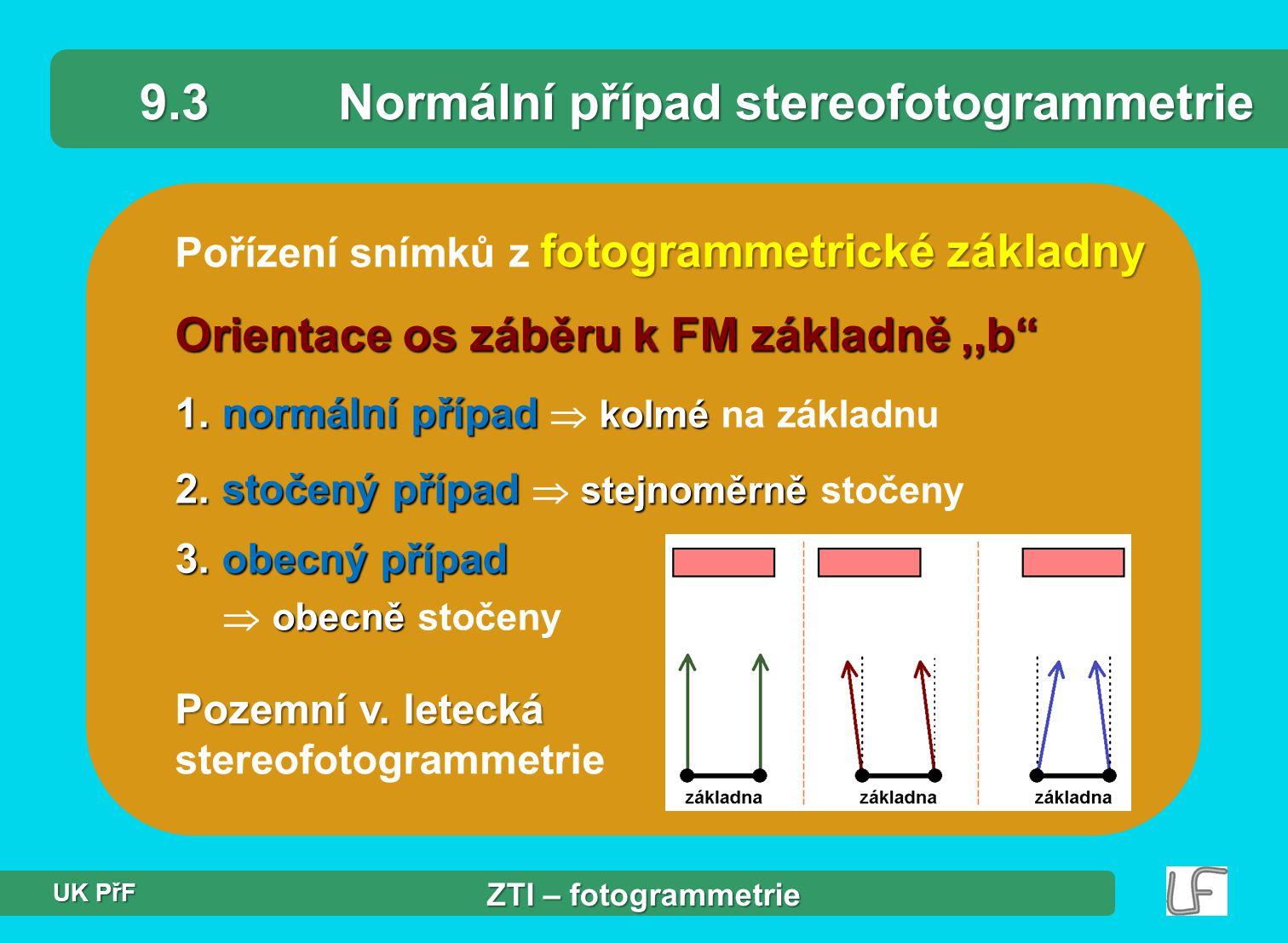 fotogrammetrické základny Pořízení snímků z fotogrammetrické základny 9.3Normální případ stereofotogrammetrie Orientace os záběru k FM základně,,b 1.