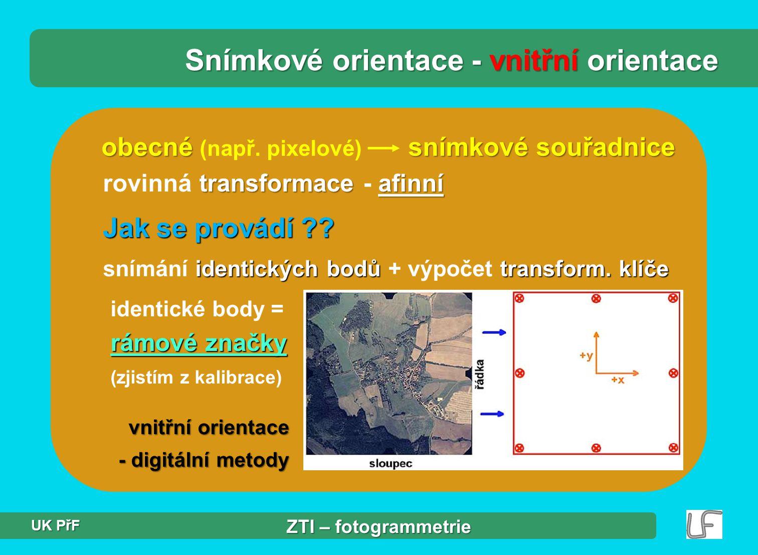 Jak se provádí ?.identických bodů transform. klíče snímání identických bodů + výpočet transform.