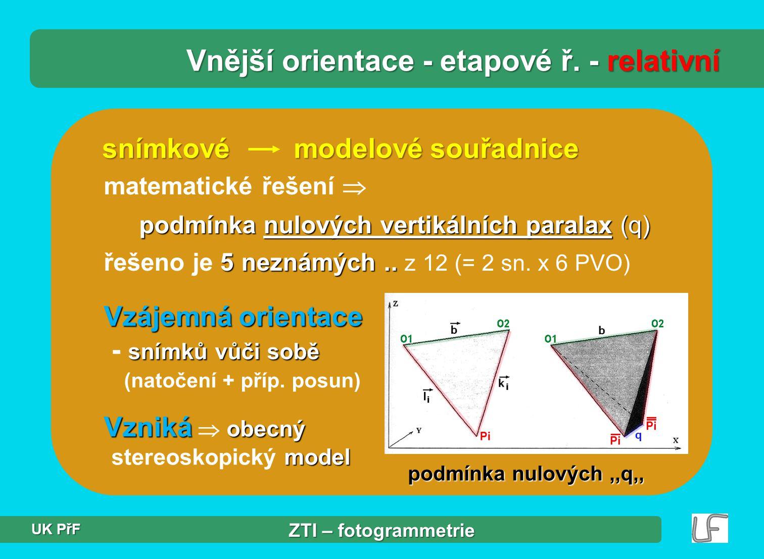 snímkové modelové souřadnice matematické řešení  podmínka nulových vertikálních paralax (q) 5 neznámých..