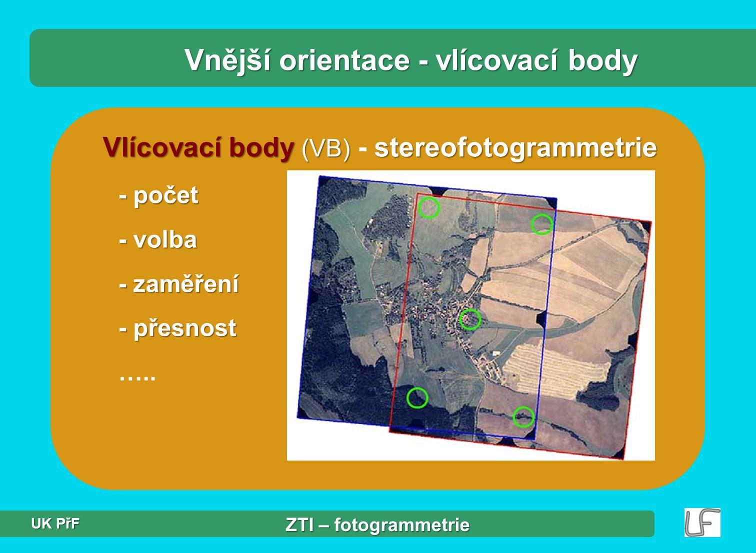 Vlícovací body (VB) stereofotogrammetrie Vlícovací body (VB) - stereofotogrammetrie - počet - volba - zaměření - přesnost …..