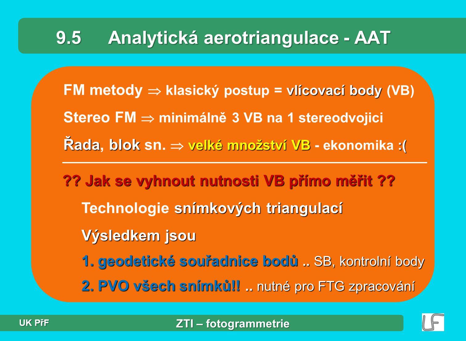 vlícovací body FM metody  klasický postup = vlícovací body (VB) Stereo FM  minimálně 3 VB na 1 stereodvojici Řadablok velké množství VB :( Řada, blok sn.