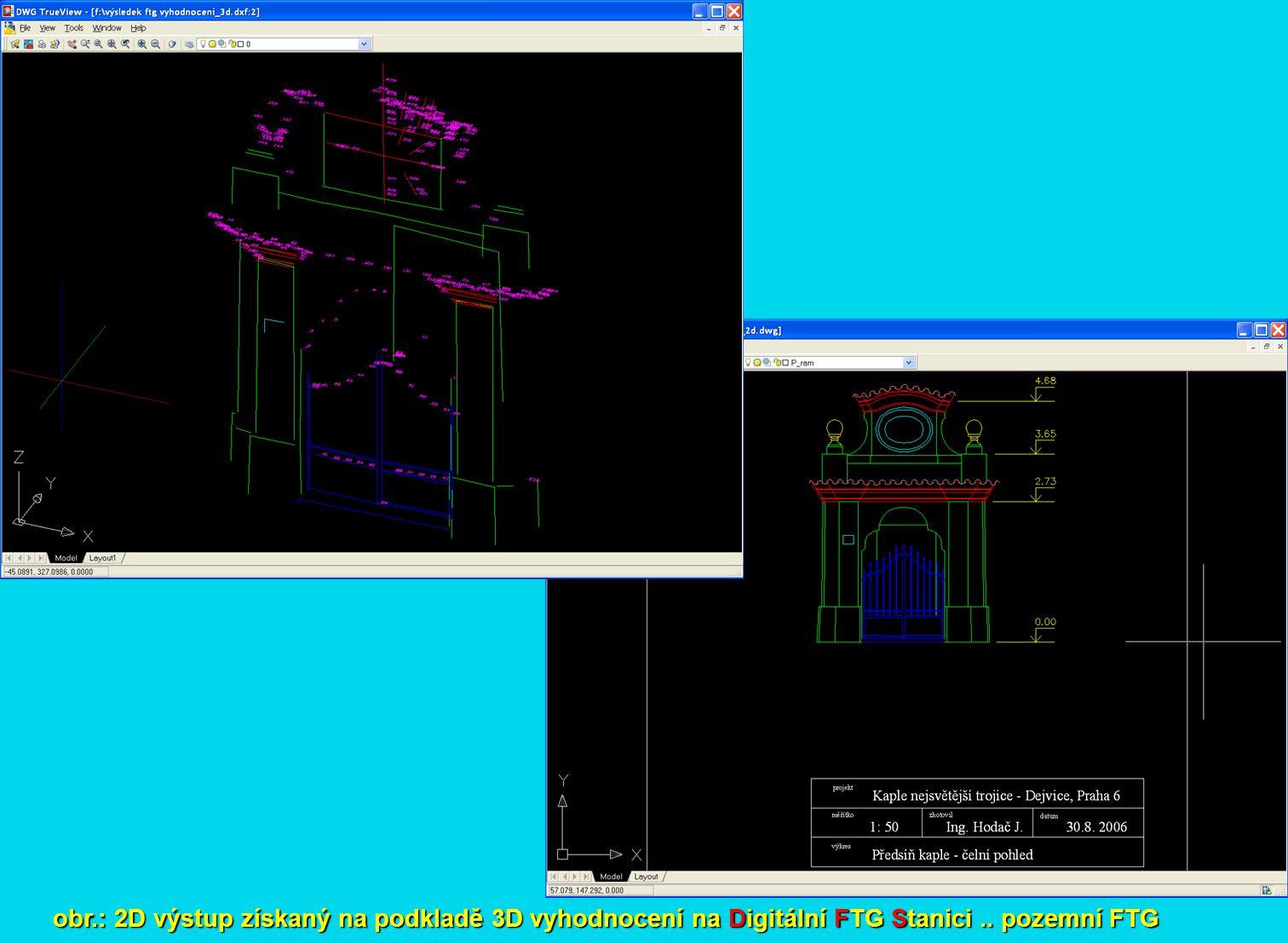 obr.: 2D výstup získaný na podkladě 3D vyhodnocení na Digitální FTG Stanici.. pozemní FTG