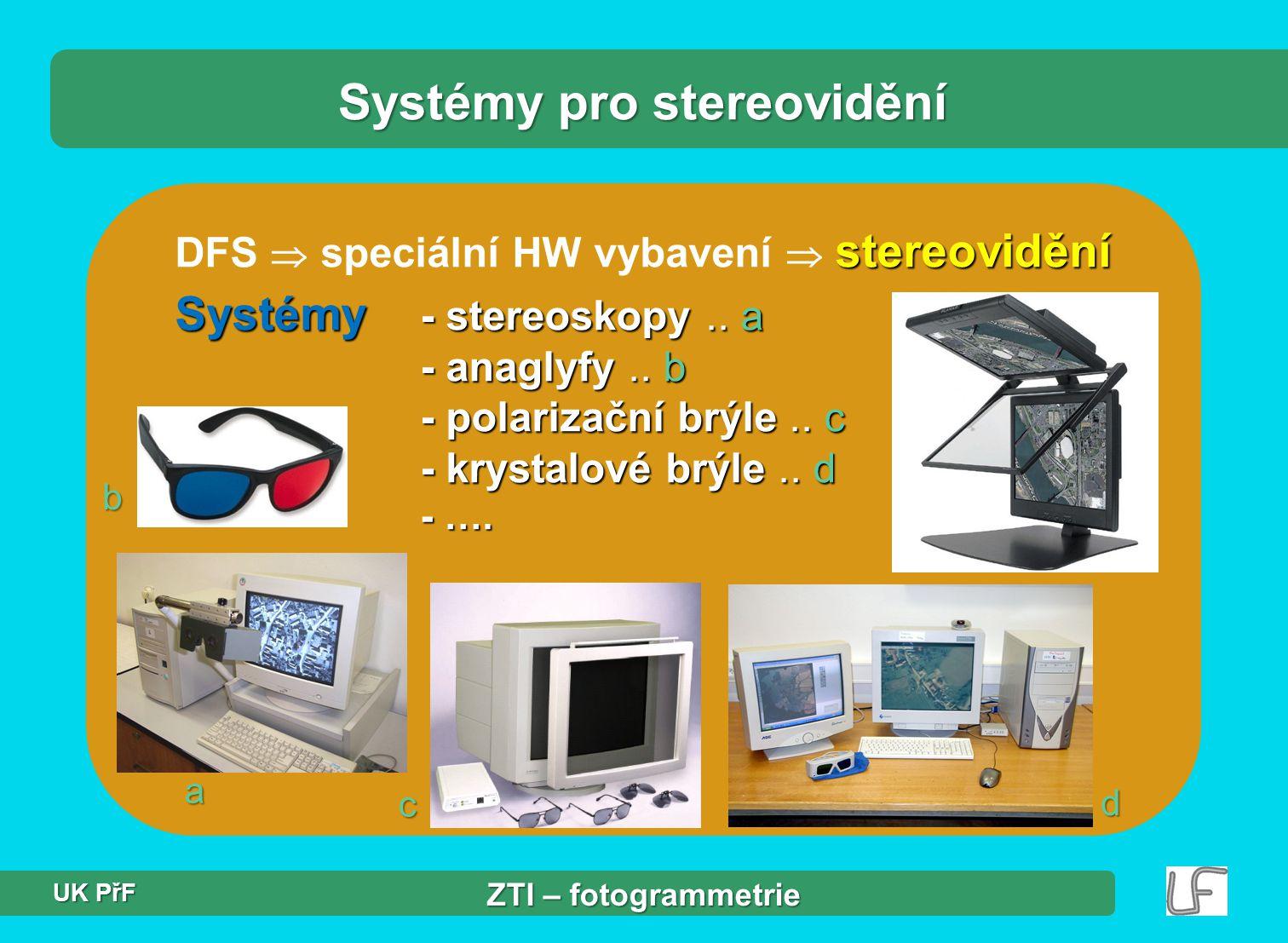 stereovidění DFS  speciální HW vybavení  stereovidění Systémy - stereoskopy..