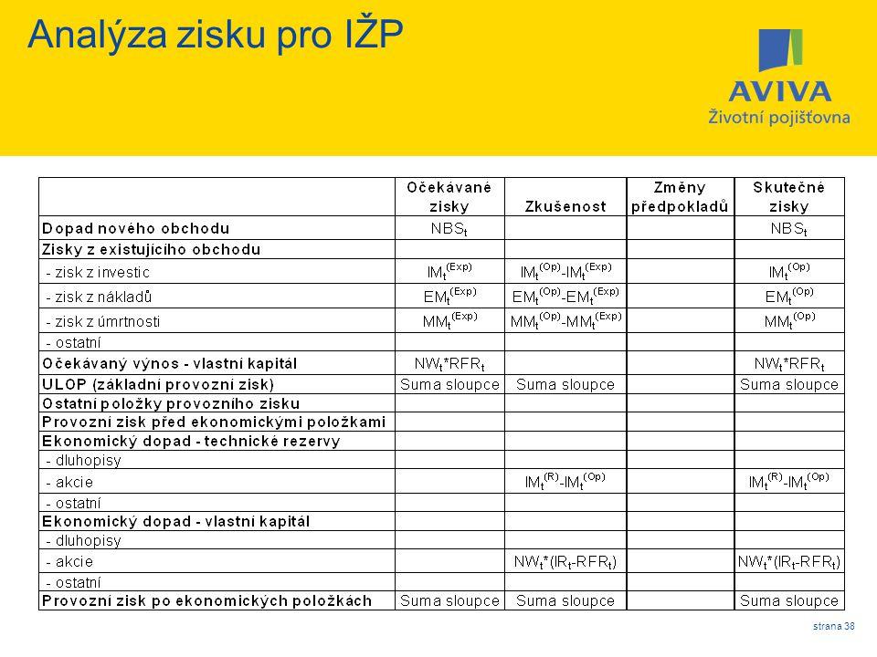 strana 38 Analýza zisku pro IŽP