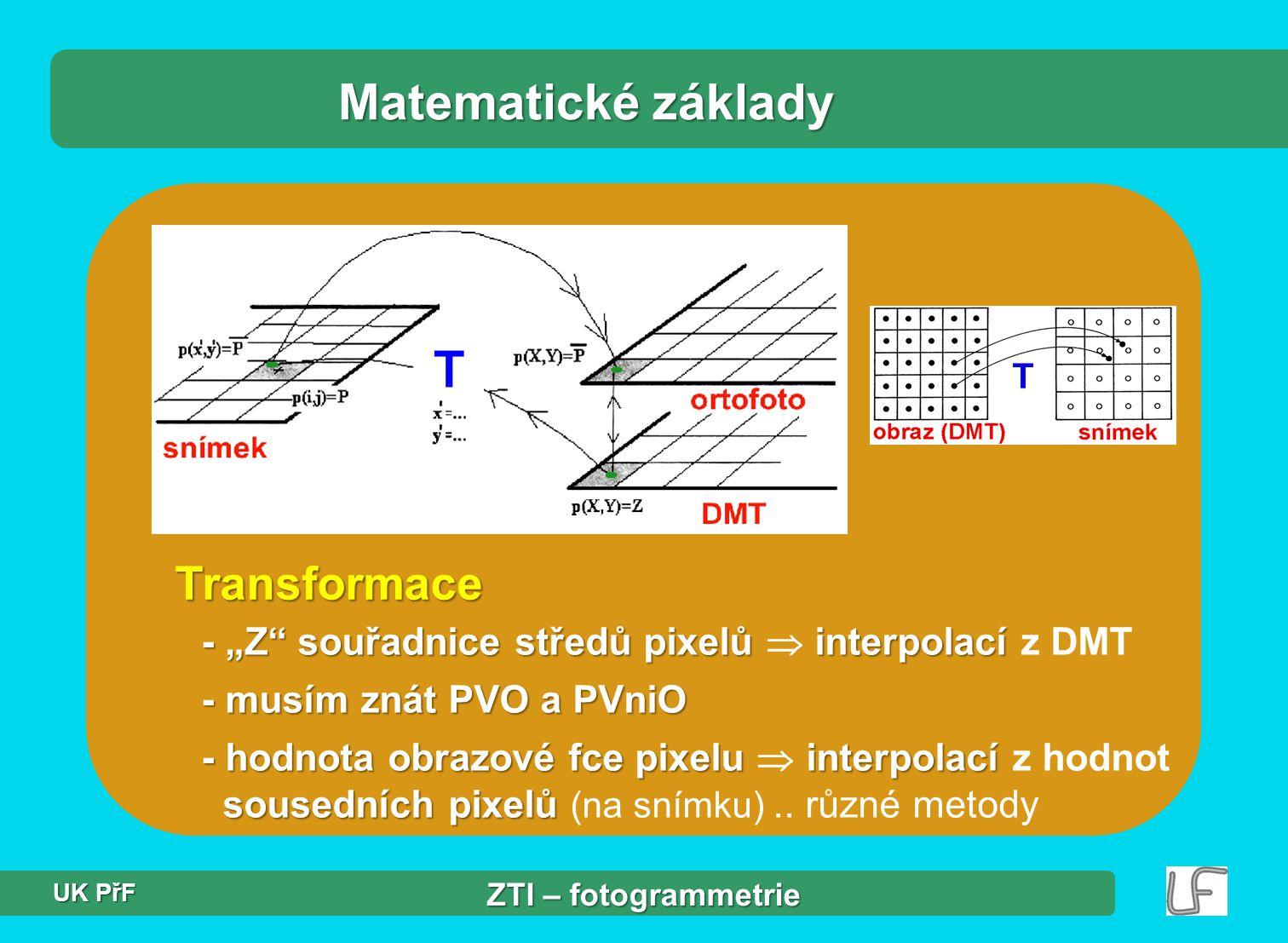 """Transformace Matematické základy - """"Z"""" souřadnice středů pixelů interpolací - """"Z"""" souřadnice středů pixelů  interpolací z DMT - musím znát PVO a PVni"""