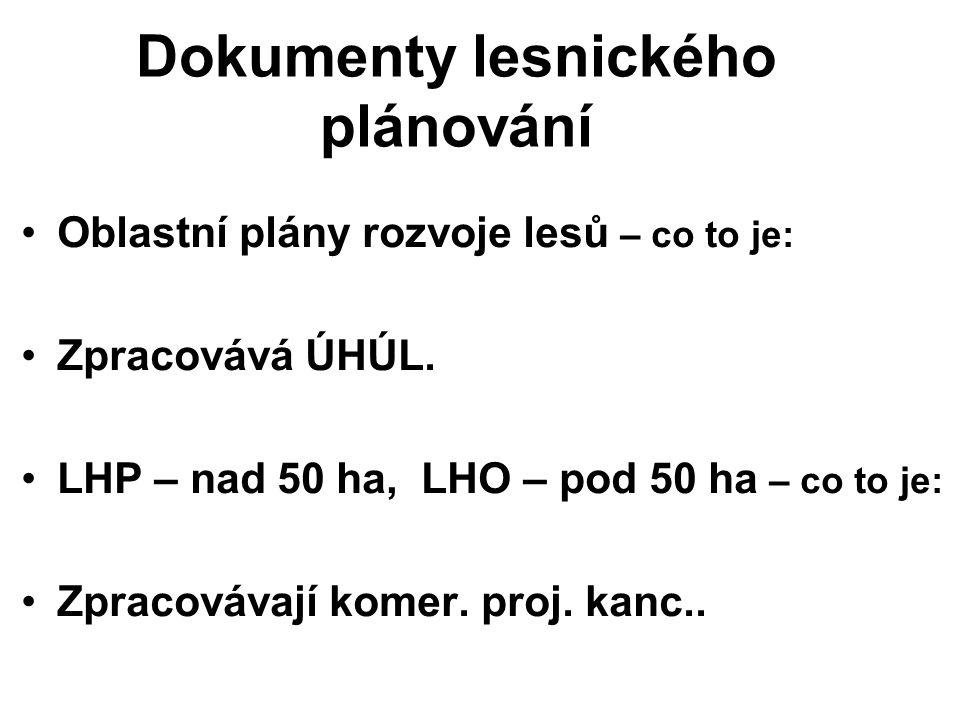 Jednotky rozdělení lesa Každý les rozdělen Polesí (nebo majetek osoby ….) Oddělení (př: 652) Porost (př: A) Porostní skupina (př: 10 nebo 4y) Etáž (11/3)
