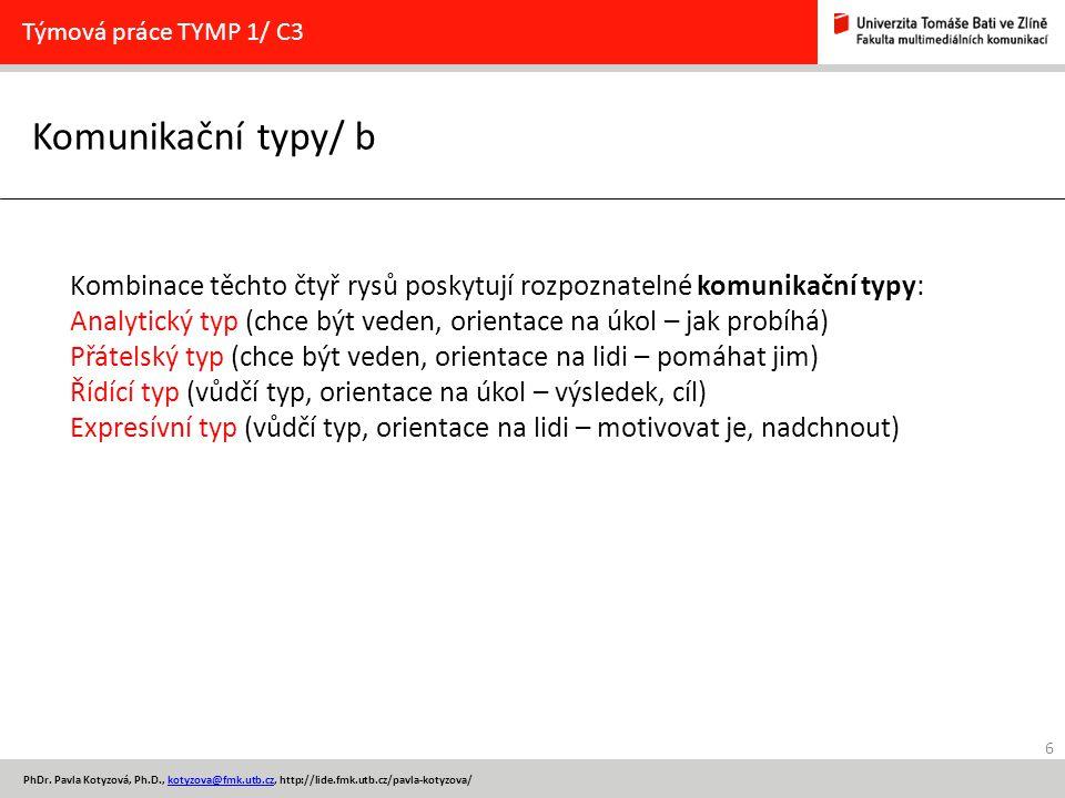 6 PhDr. Pavla Kotyzová, Ph.D., kotyzova@fmk.utb.cz, http://lide.fmk.utb.cz/pavla-kotyzova/kotyzova@fmk.utb.cz Komunikační typy/ b Týmová práce TYMP 1/