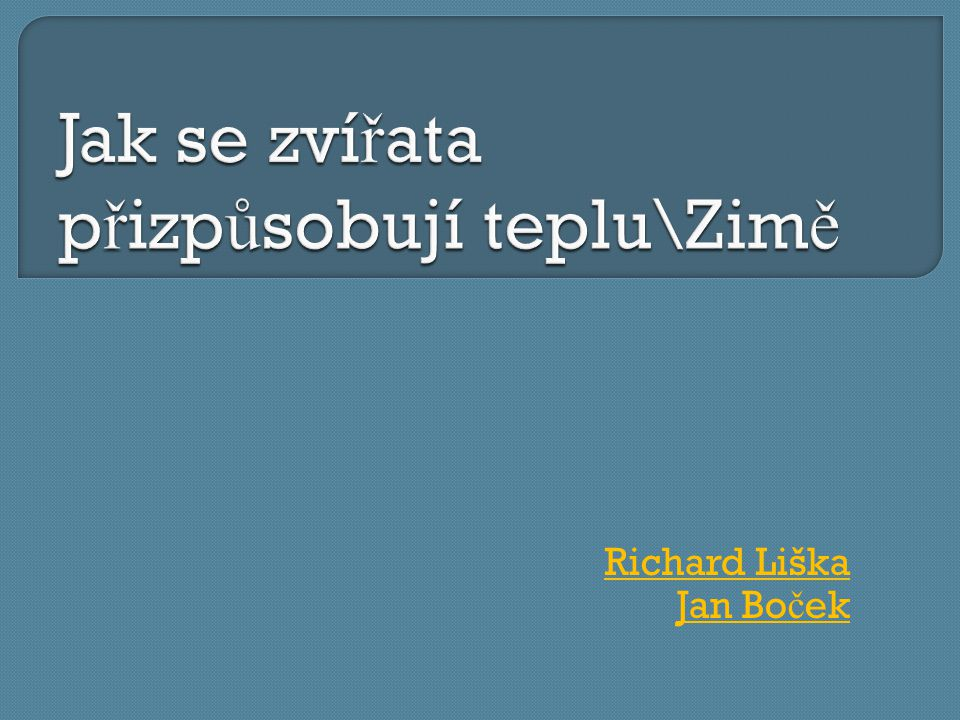 Richard Liška Jan Bo č ek