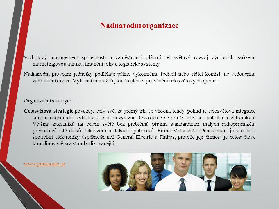 Nadnárodní organizace Vrcholový management společnosti a zaměstnanci plánují celosvětový rozvoj výrobních zařízení, marketingovou taktiku, finanční toky a logistické systémy.