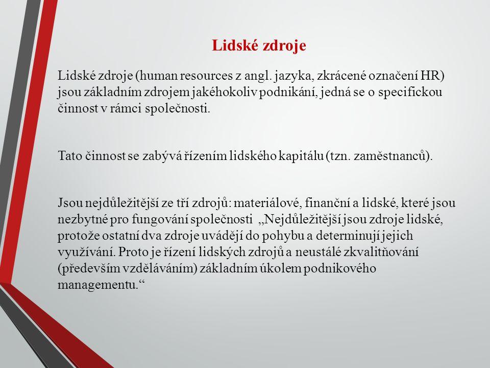 Lidské zdroje Lidské zdroje (human resources z angl.