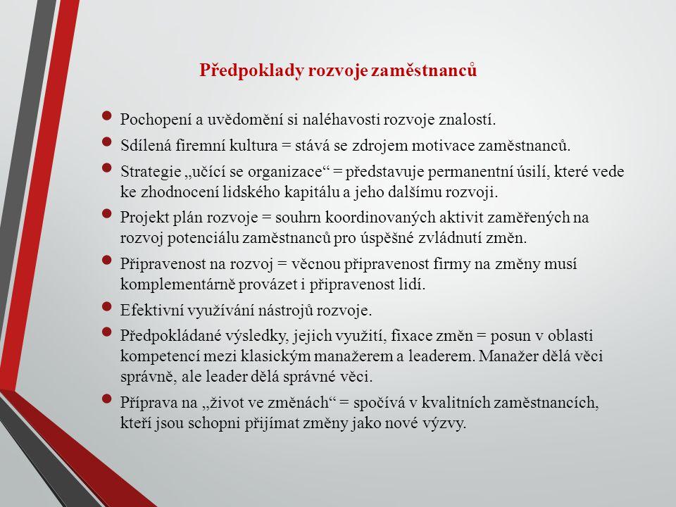 Předpoklady rozvoje zaměstnanců Pochopení a uvědomění si naléhavosti rozvoje znalostí.