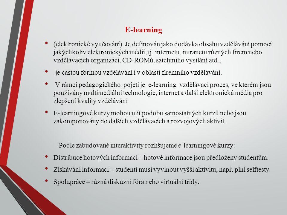 E-learning (elektronické vyučování).