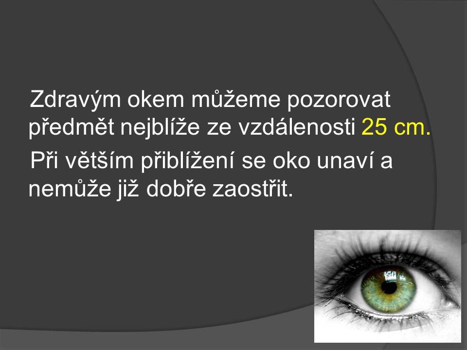 Zdravým okem můžeme pozorovat předmět nejblíže ze vzdálenosti 25 cm. Při větším přiblížení se oko unaví a nemůže již dobře zaostřit.