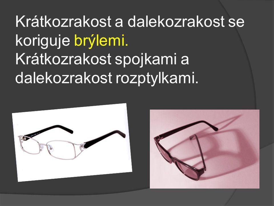 Krátkozrakost a dalekozrakost se koriguje brýlemi. Krátkozrakost spojkami a dalekozrakost rozptylkami.