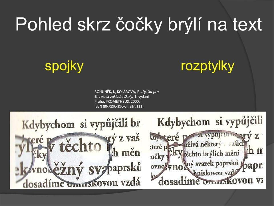 Pohled skrz čočky brýlí na text spojkyrozptylky BOHUNĚK, J., KOLÁŘOVÁ, R., Fyzika pro 9.. ročník základní školy. 1. vydání Praha: PROMETHEUS, 2000. IS