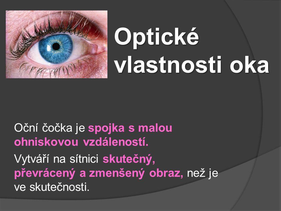 Optické vlastnosti oka Oční čočka je spojka s malou ohniskovou vzdáleností. Vytváří na sítnici skutečný, převrácený a zmenšený obraz, než je ve skuteč
