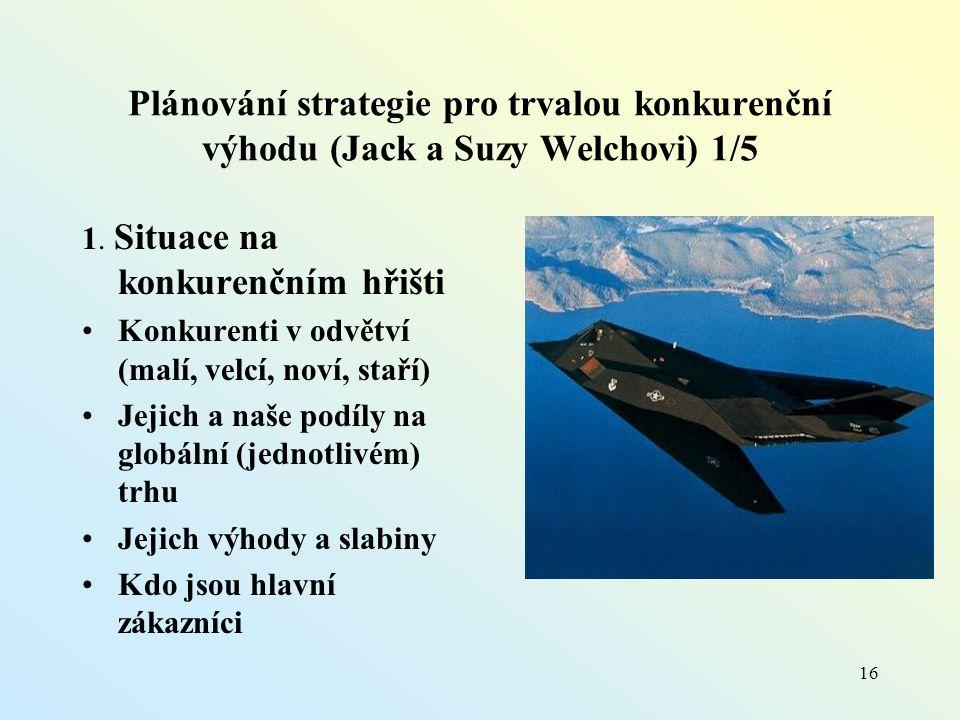 Plánování strategie pro trvalou konkurenční výhodu (Jack a Suzy Welchovi) 1/5 1.