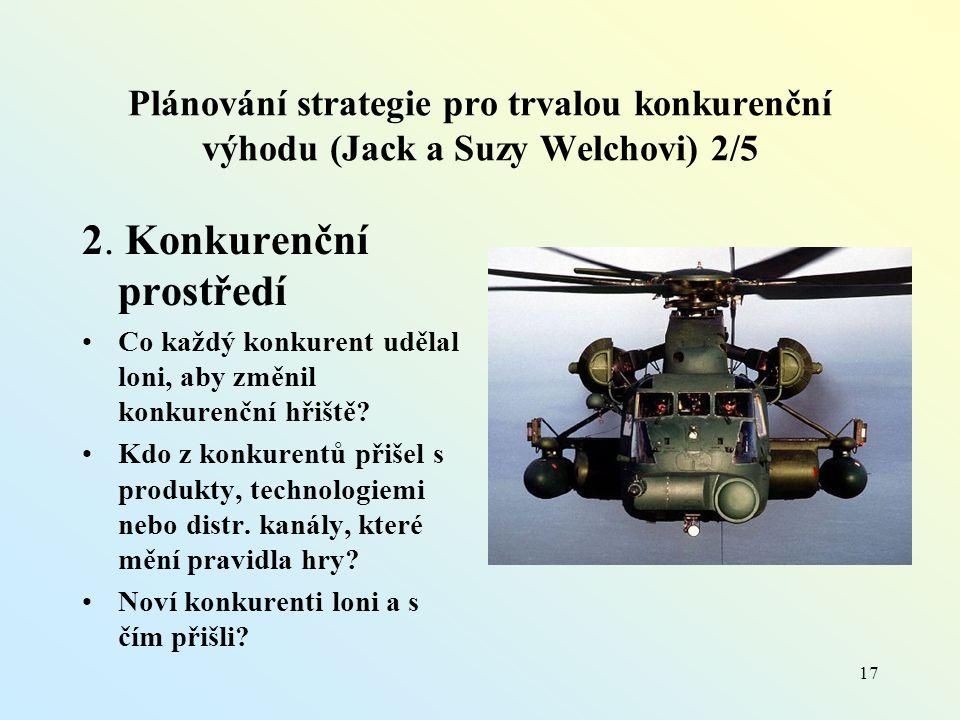 Plánování strategie pro trvalou konkurenční výhodu (Jack a Suzy Welchovi) 2/5 2.