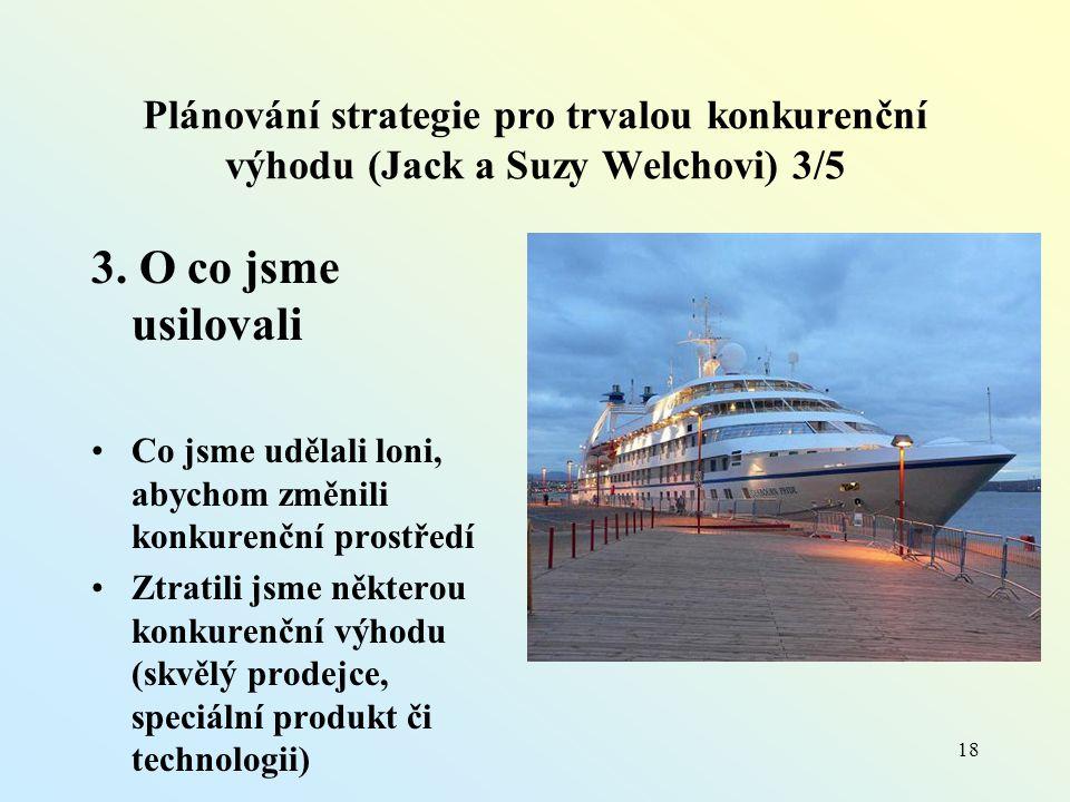 Plánování strategie pro trvalou konkurenční výhodu (Jack a Suzy Welchovi) 3/5 3.