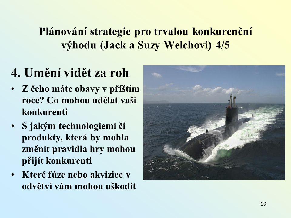 Plánování strategie pro trvalou konkurenční výhodu (Jack a Suzy Welchovi) 4/5 4.