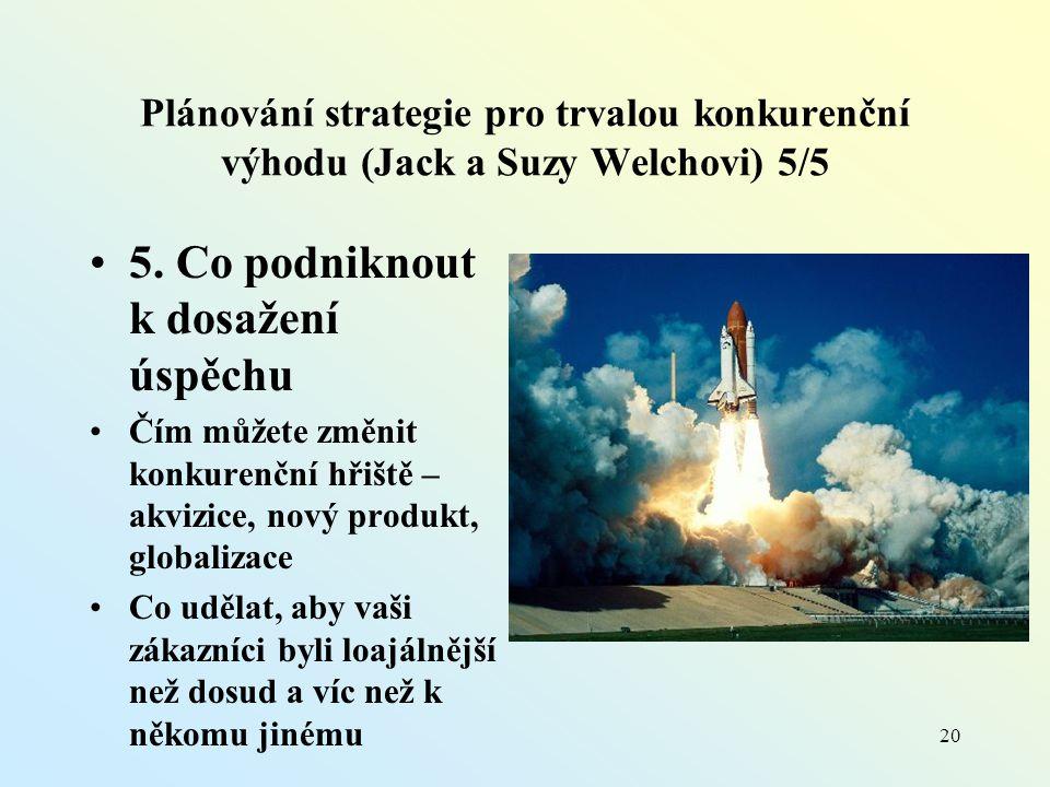Plánování strategie pro trvalou konkurenční výhodu (Jack a Suzy Welchovi) 5/5 5.