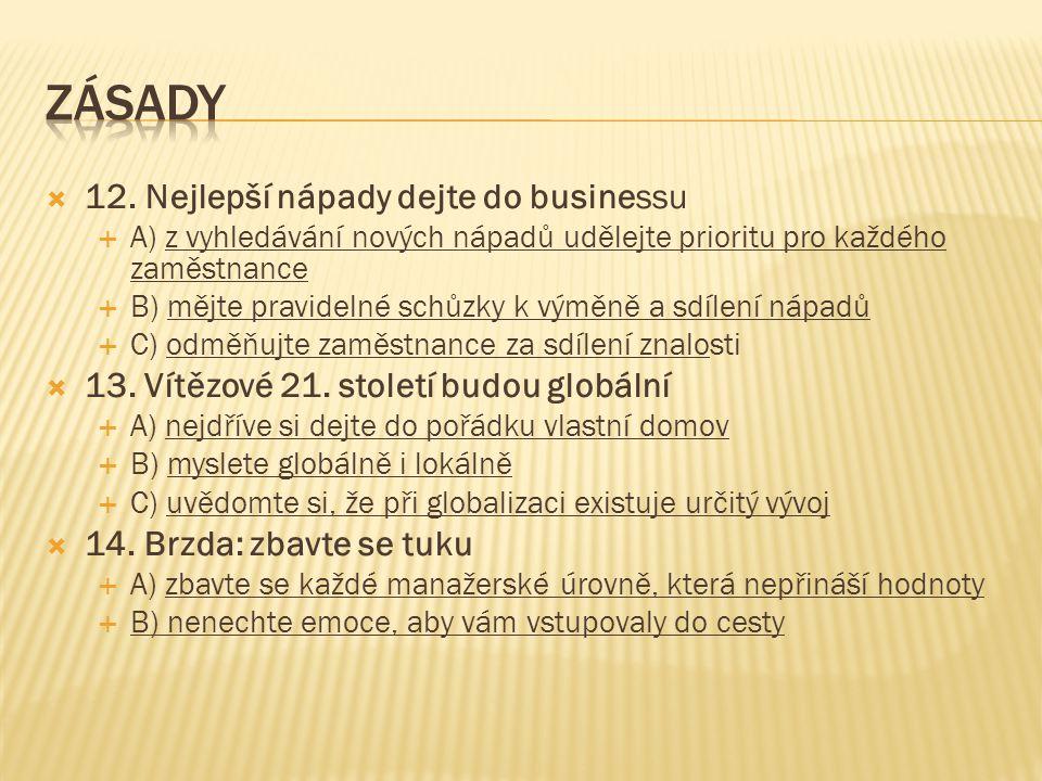  12. Nejlepší nápady dejte do businessu  A) z vyhledávání nových nápadů udělejte prioritu pro každého zaměstnance  B) mějte pravidelné schůzky k vý