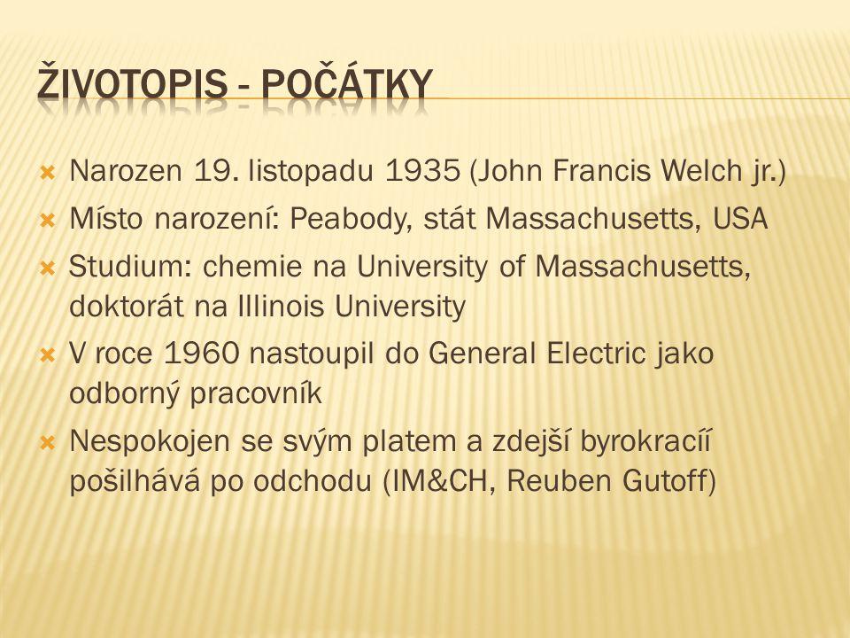  Narozen 19. listopadu 1935 (John Francis Welch jr.)  Místo narození: Peabody, stát Massachusetts, USA  Studium: chemie na University of Massachuse
