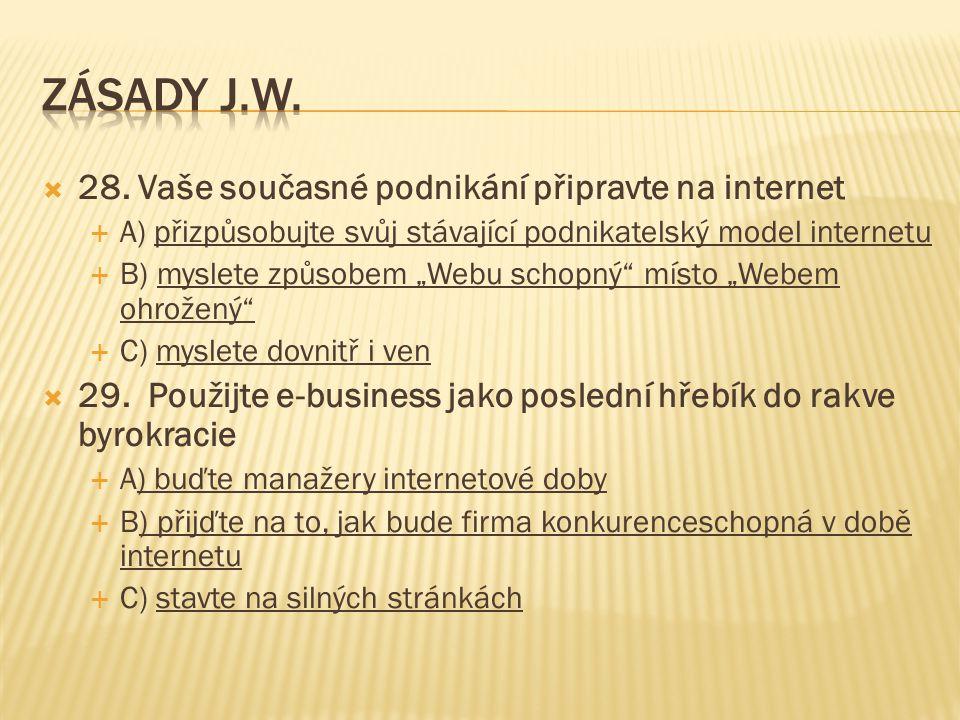 """ 28. Vaše současné podnikání připravte na internet  A) přizpůsobujte svůj stávající podnikatelský model internetu  B) myslete způsobem """"Webu schopn"""