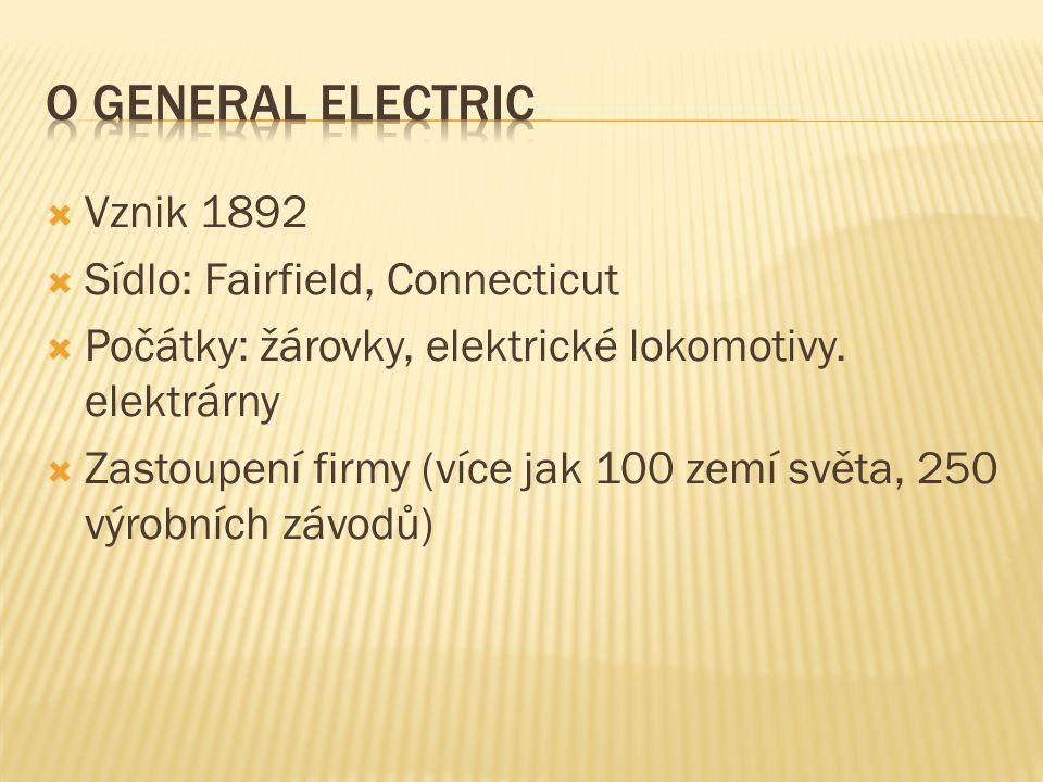  Vznik 1892  Sídlo: Fairfield, Connecticut  Počátky: žárovky, elektrické lokomotivy. elektrárny  Zastoupení firmy (více jak 100 zemí světa, 250 vý