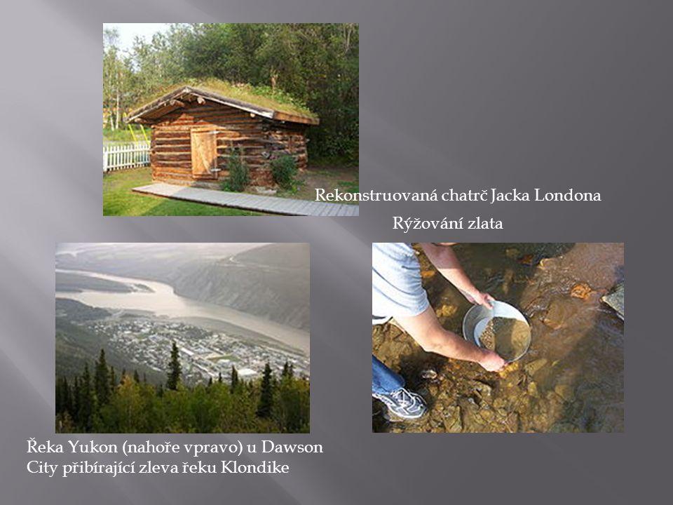 Rekonstruovaná chatrč Jacka Londona Rýžování zlata Řeka Yukon (nahoře vpravo) u Dawson City přibírající zleva řeku Klondike