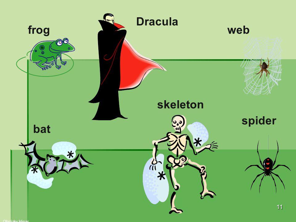 11 frog Dracula web bat skeleton spider Obrázky:klipar