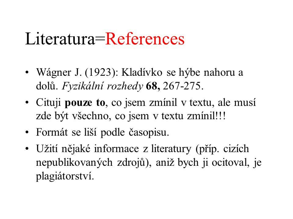Literatura=References Wágner J. (1923): Kladívko se hýbe nahoru a dolů. Fyzikální rozhedy 68, 267-275. Cituji pouze to, co jsem zmínil v textu, ale mu