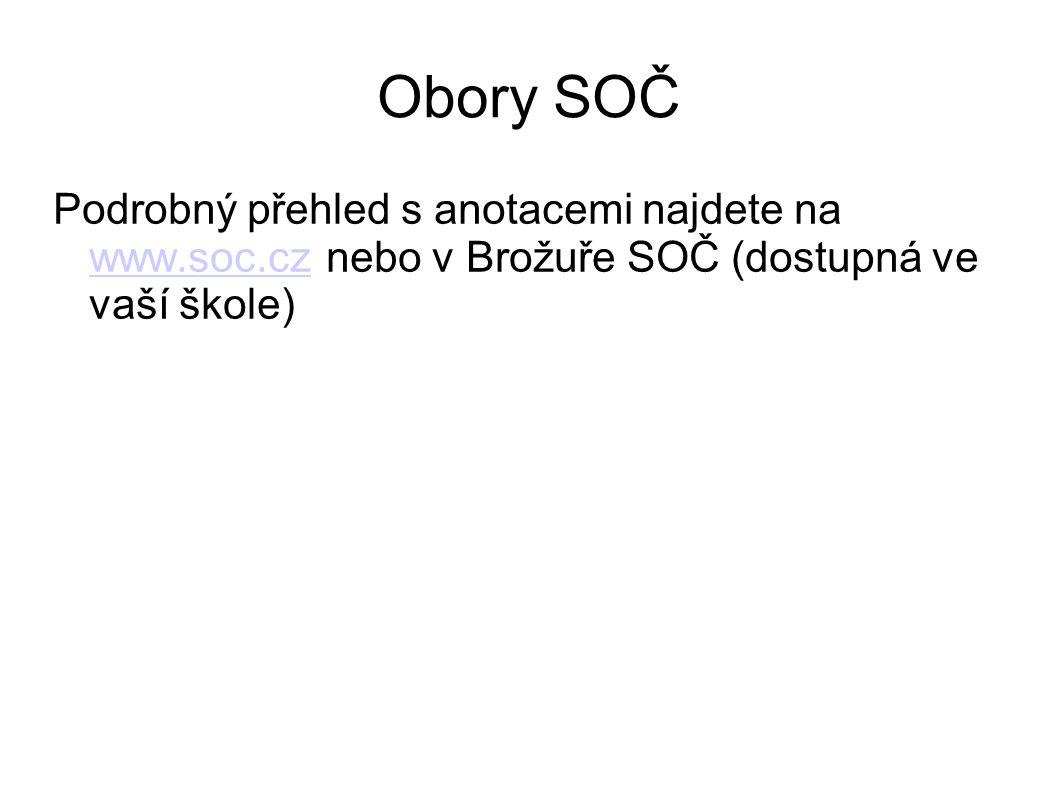 Obory SOČ Podrobný přehled s anotacemi najdete na www.soc.cz nebo v Brožuře SOČ (dostupná ve vaší škole) www.soc.cz