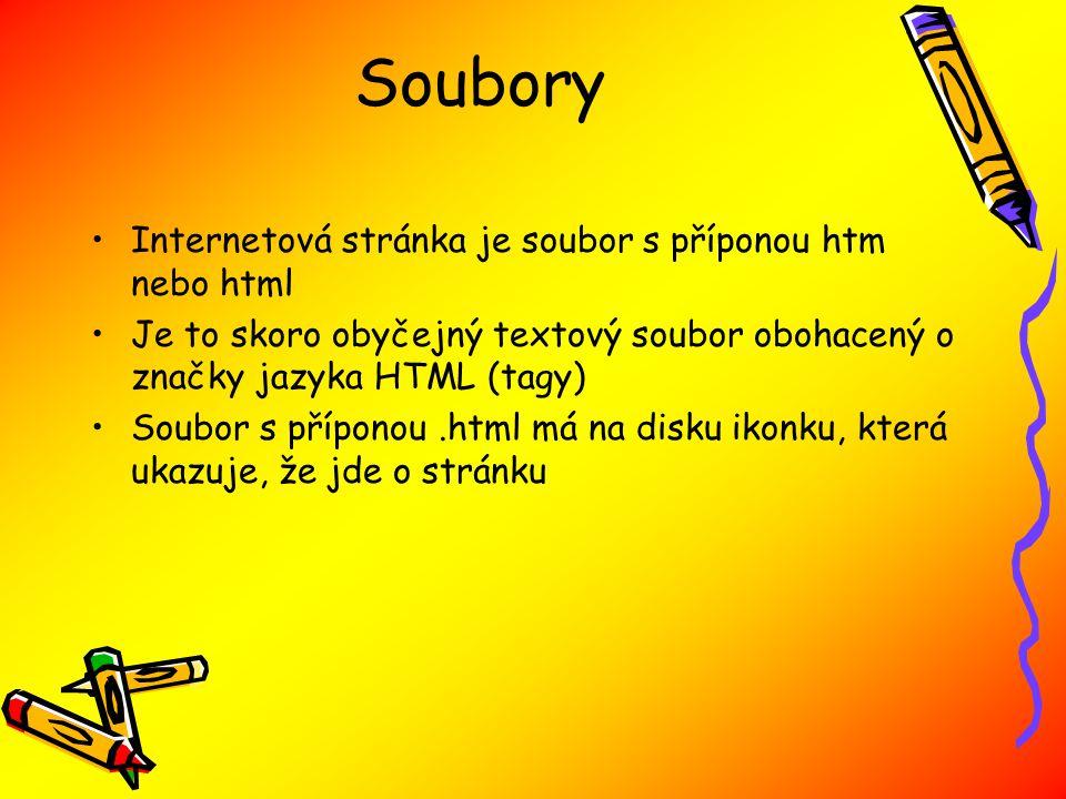 Soubory Internetová stránka je soubor s příponou htm nebo html Je to skoro obyčejný textový soubor obohacený o značky jazyka HTML (tagy) Soubor s příponou.html má na disku ikonku, která ukazuje, že jde o stránku