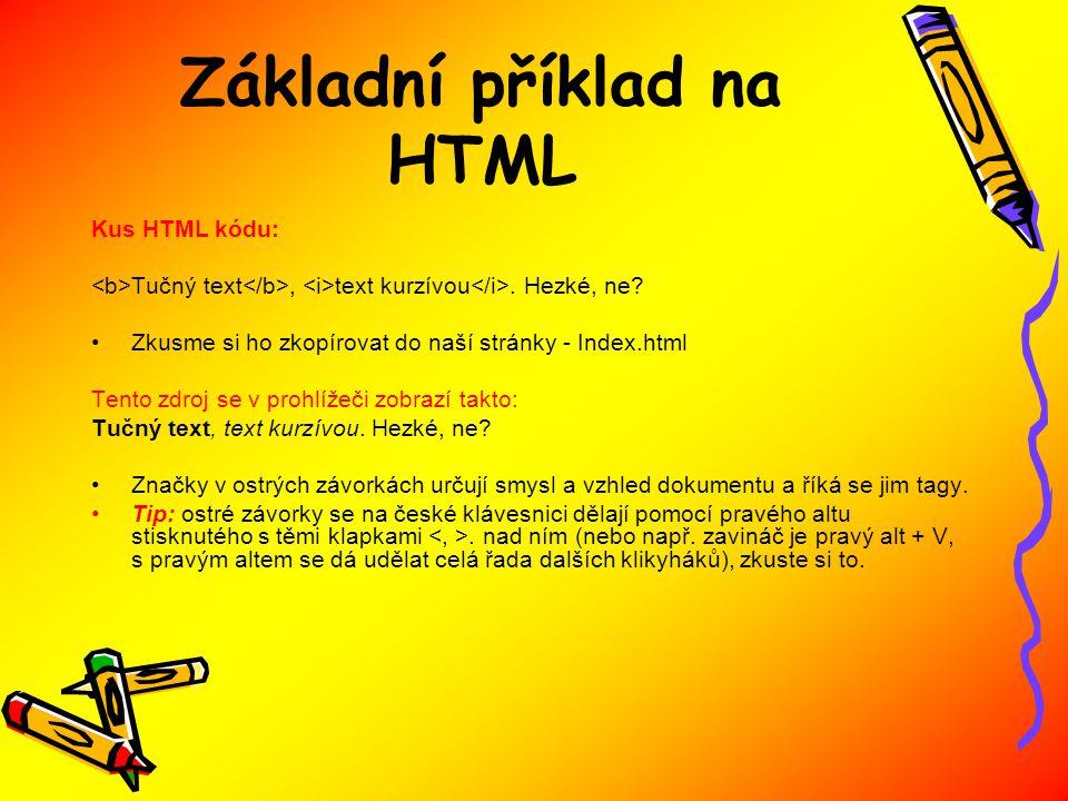 Základní příklad na HTML Kus HTML kódu: Tučný text, text kurzívou.