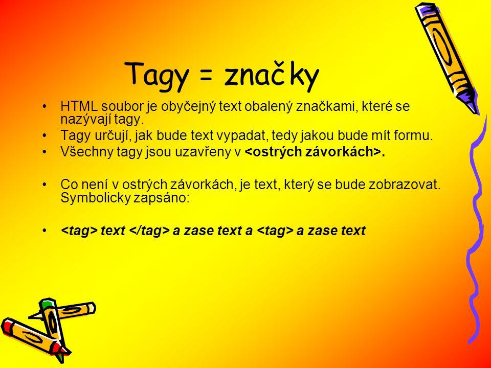 Tagy = značky HTML soubor je obyčejný text obalený značkami, které se nazývají tagy.