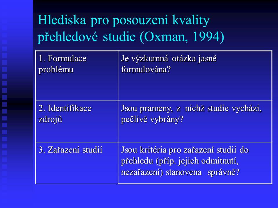 Hlediska pro posouzení kvality přehledové studie (Oxman, 1994) 5.