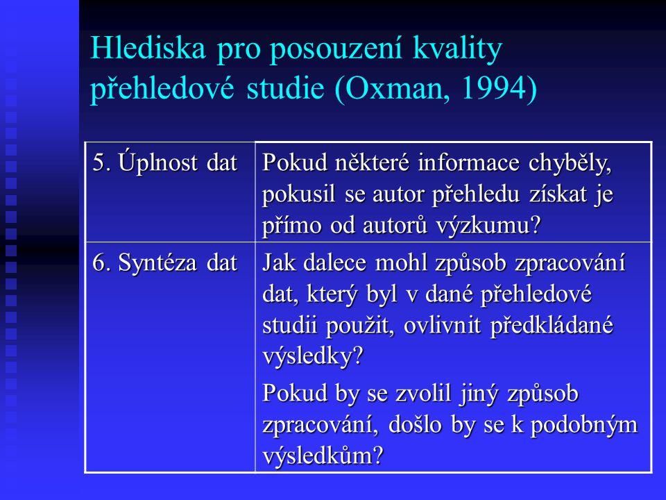 Hlediska pro posouzení kvality přehledové studie (Oxman, 1994) 7.