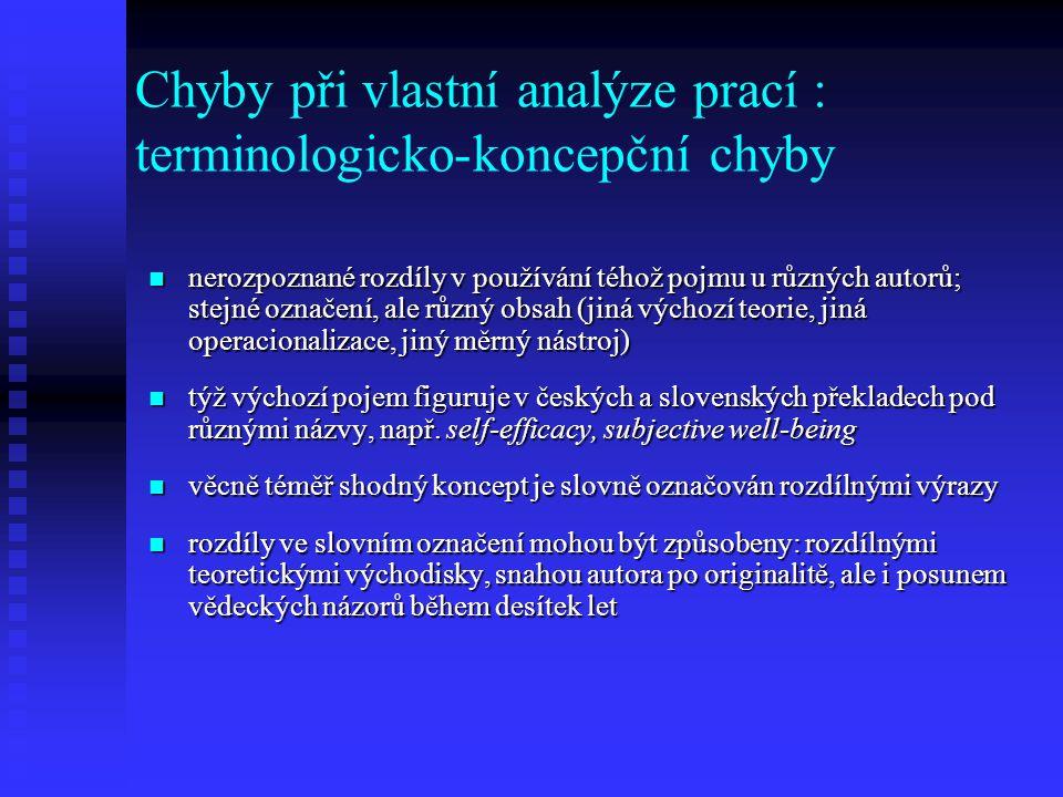 Ignorování sociokulturních rozdílů autoři konkrétních výzkumů se často orientují na majoritní populaci autoři konkrétních výzkumů se často orientují na majoritní populaci autor přehledové studie nezkoumá detailně složení sledovaného souboru u jednotlivých výzkumů autor přehledové studie nezkoumá detailně složení sledovaného souboru u jednotlivých výzkumů autor neoprávněně spojuje závěry studií, které byly prováděny u sociokulturně rozdílných vzorků osob autor neoprávněně spojuje závěry studií, které byly prováděny u sociokulturně rozdílných vzorků osob autor nebere v úvahu rozdíly ve školských systémech a kulturních zvyklostech jednotlivých zemí autor nebere v úvahu rozdíly ve školských systémech a kulturních zvyklostech jednotlivých zemí