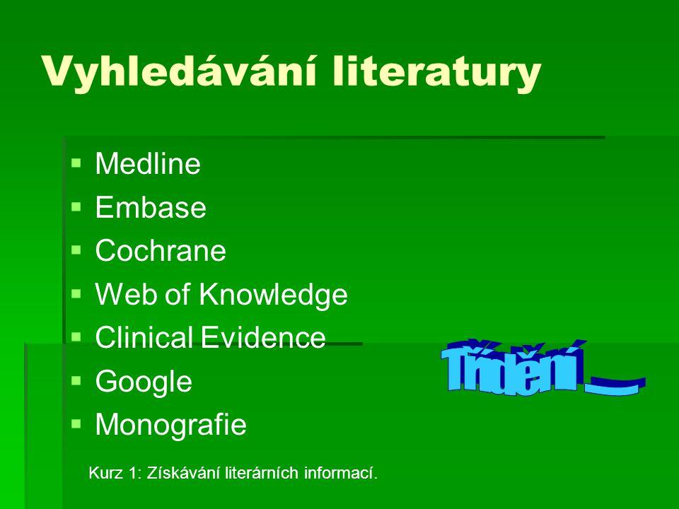 Vyhledávání literatury   Medline   Embase   Cochrane   Web of Knowledge   Clinical Evidence   Google   Monografie Kurz 1: Získávání lite